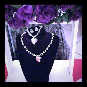 NWT 925 Sterling Silver Big Small Heart Set